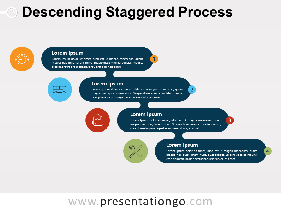 Descending Staggered Process For PowerPoint and Google Slide
