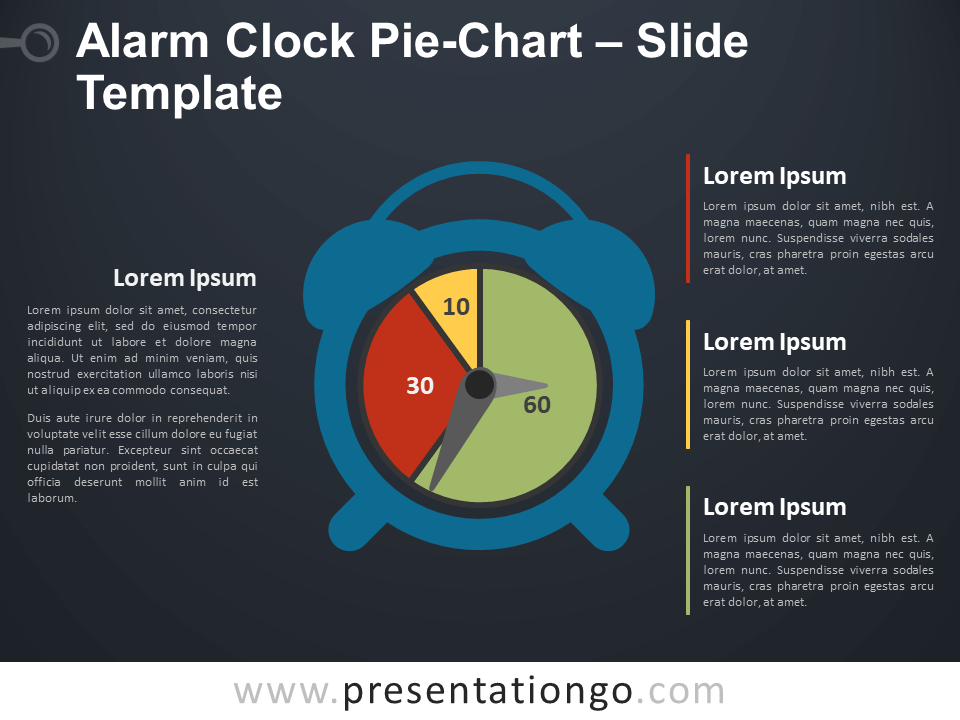 Free Alarm Clock Pie-Chart Infographic for PowerPoint