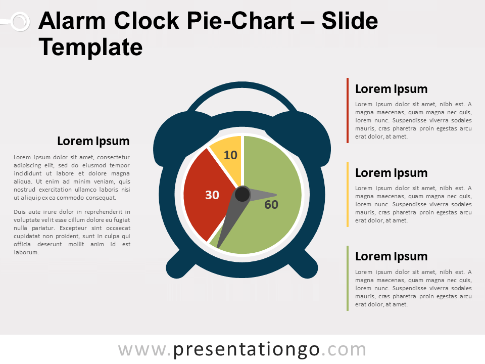Free Alarm Clock Pie-Chart for PowerPoint