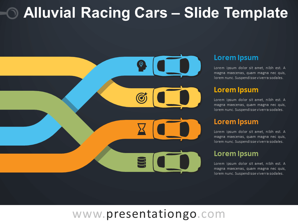 Free Alluvial Racing Cars Infographic for PowerPoint