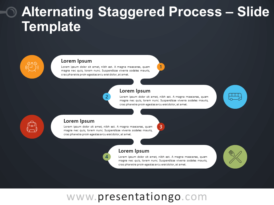 Free Alternating Staggered Process Diagram for PowerPoint