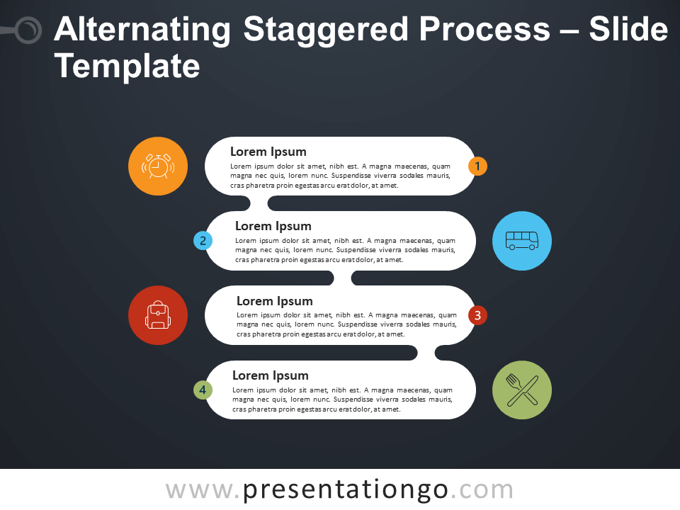 Free Alternating Staggered Process Infographic for PowerPoint