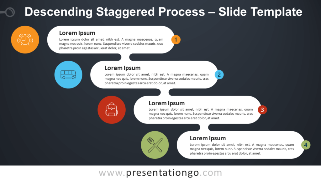 Free Ascending Descending Staggered Process Diagram for PowerPoint and Google Slides