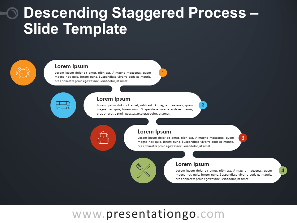 Free Ascending Descending Staggered Process Diagram for PowerPoint