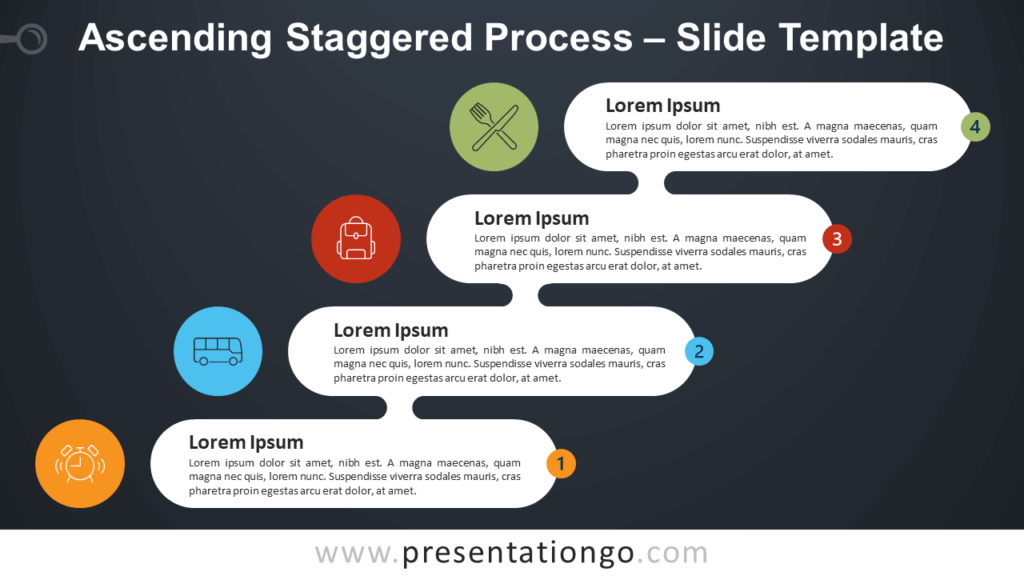 Free Ascending Descending Staggered Process Infographic for PowerPoint and Google Slides