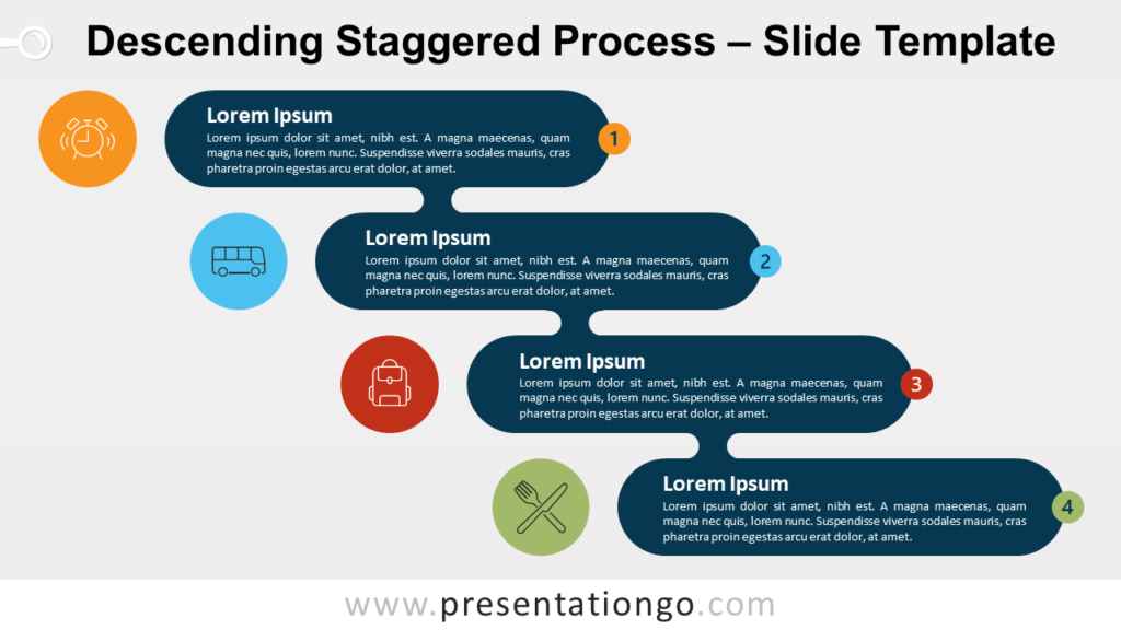 Free Ascending Descending Staggered Process Template for PowerPoint and Google Slides