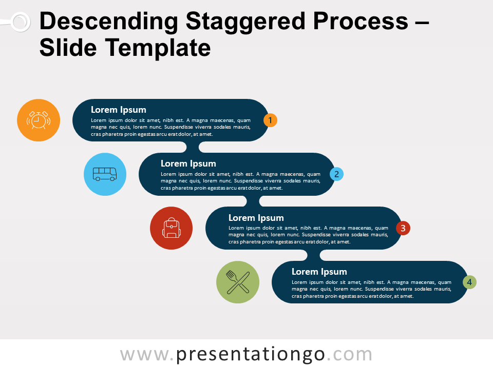 Free Ascending Descending Staggered Process Template for PowerPoint