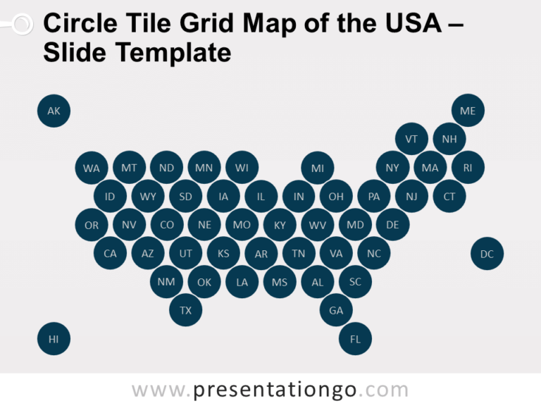 Free Circle Tile Grid Map of the USA for PowerPoint