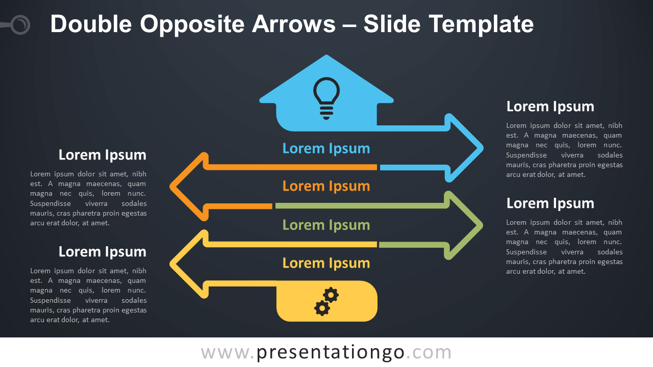 Free Double Opposite Arrows Infographics Diagram for PowerPoint and Google Slides