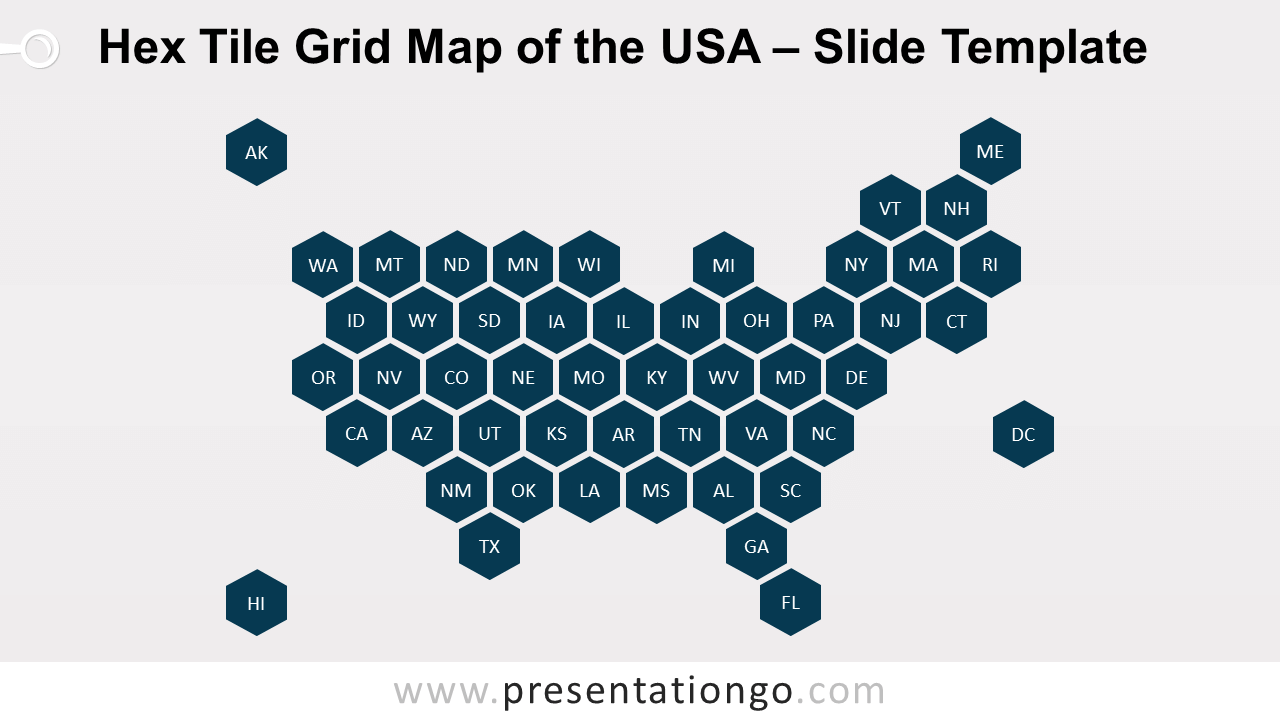 Free Hex Tile Grid Map of the USA for PowerPoint and Google Slides