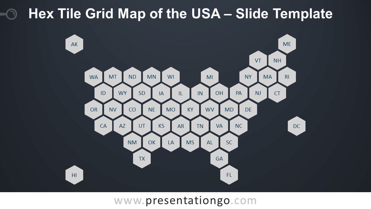 Free Hex Tile Grid Map of the USA Slide Template for PowerPoint and Google Slides