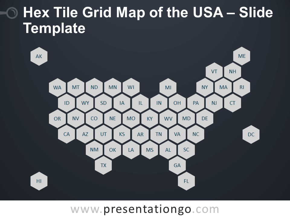 Free Hex Tile Grid Map of the USA Slide Template for PowerPoint
