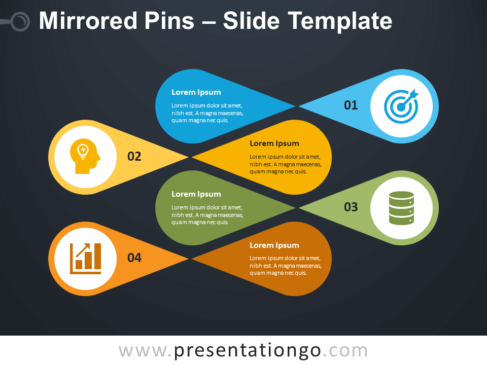 Free Mirrored Pins Infographic for PowerPoint