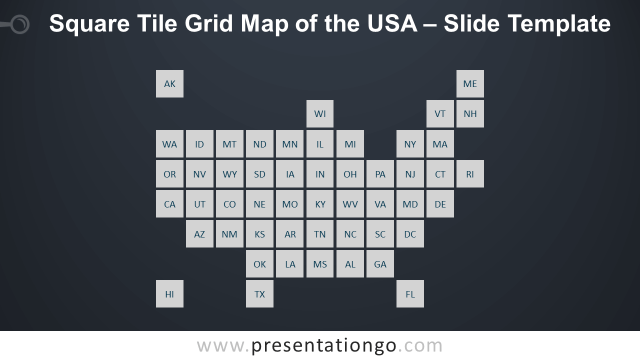 Free Square Tile Grid Map of the USA Slide Template for PowerPoint and Google Slides
