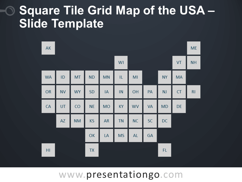 Free Square Tile Grid Map of the USA Slide Template for PowerPoint