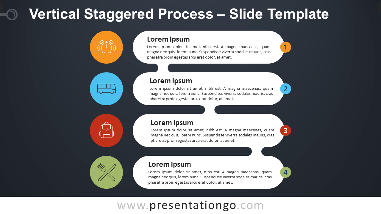 Free Vertical Staggered Process Infographic for PowerPoint and Google Slides