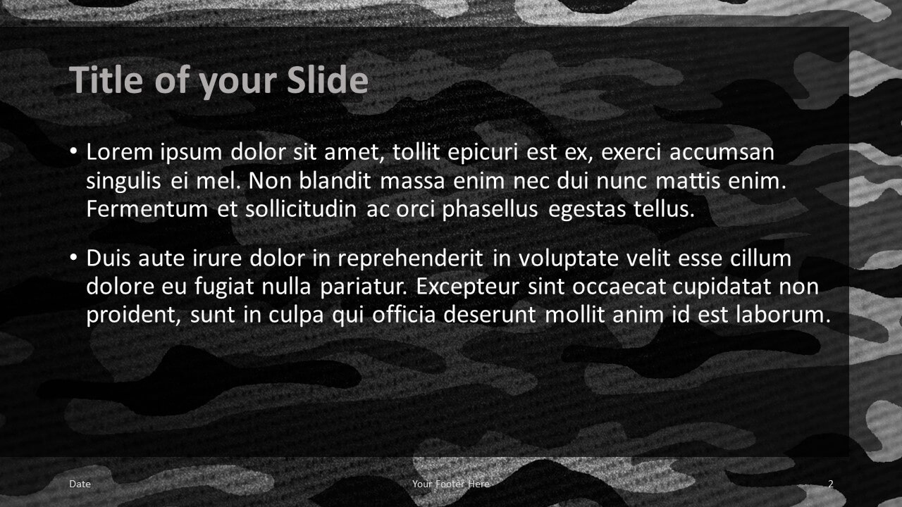 Free CAMO Template for Google Slides – Title and Content Slide (Variant 1)