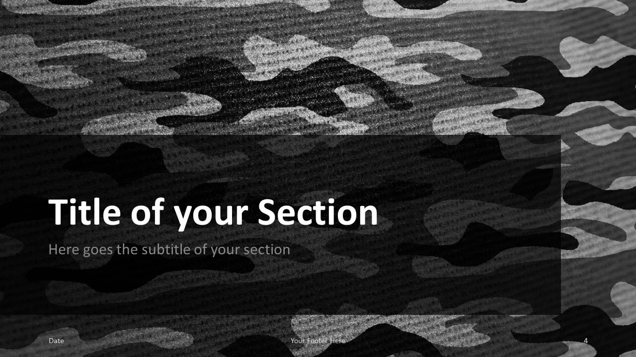 Free CAMO Template for Google Slides – Section Slide (Variant 1)