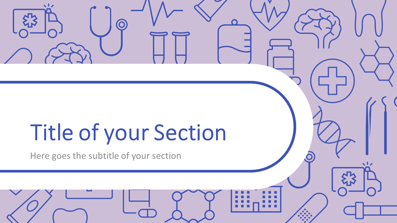 Free Medicons Medical Health Template for Google Slides – Section Slide (Variant 1)