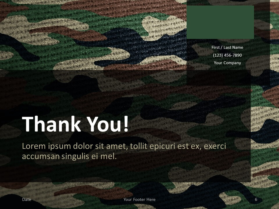 Free CAMO Template for PowerPoint - Closing / Thank you