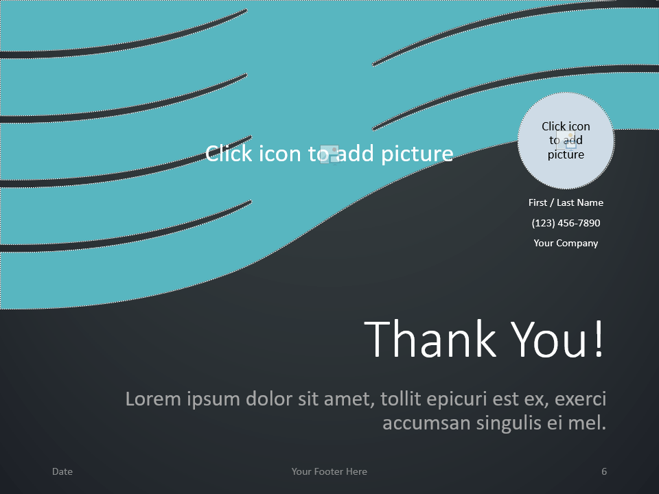 Free Wavy Template for PowerPoint - Closing / Thank you