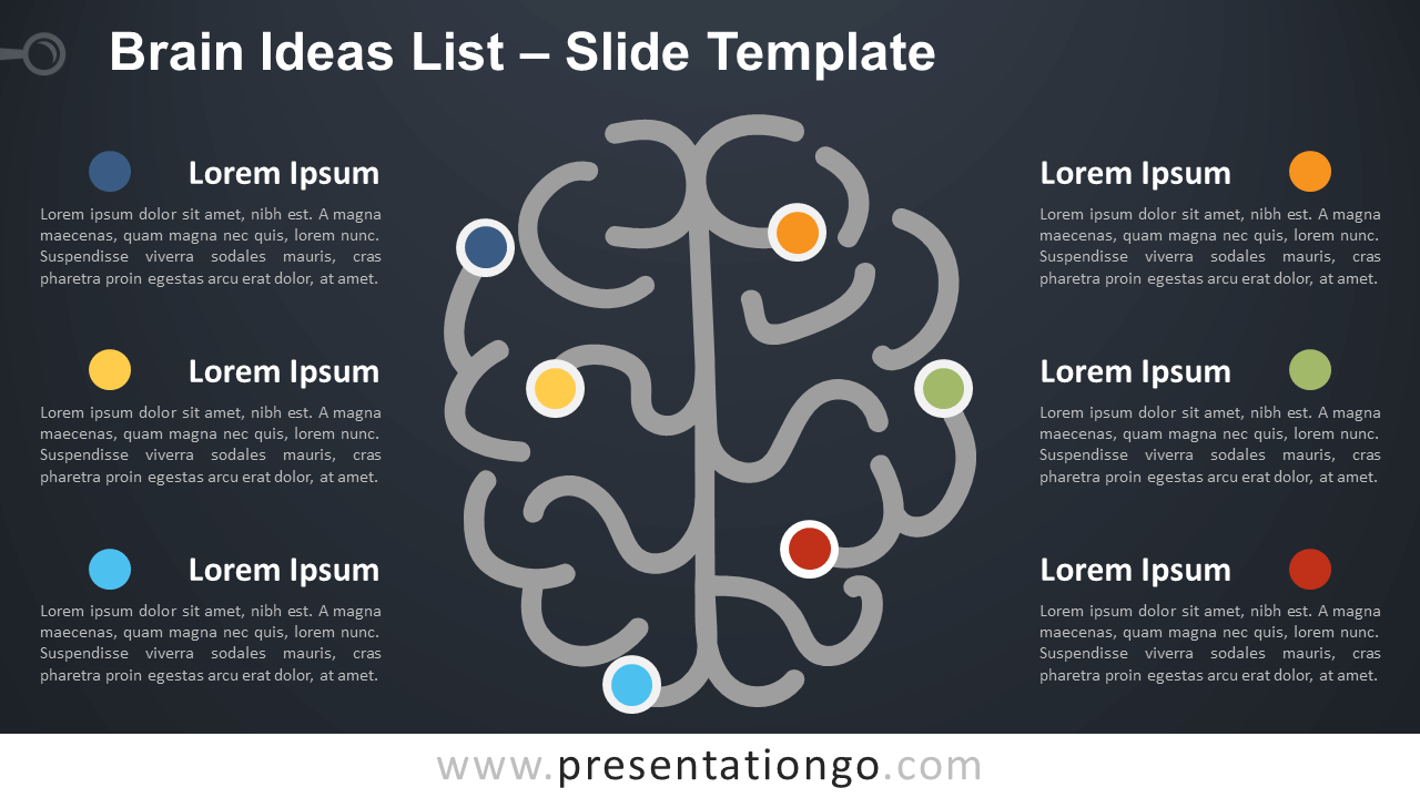 Free Brain Ideas List Diagram for PowerPoint and Google Slides