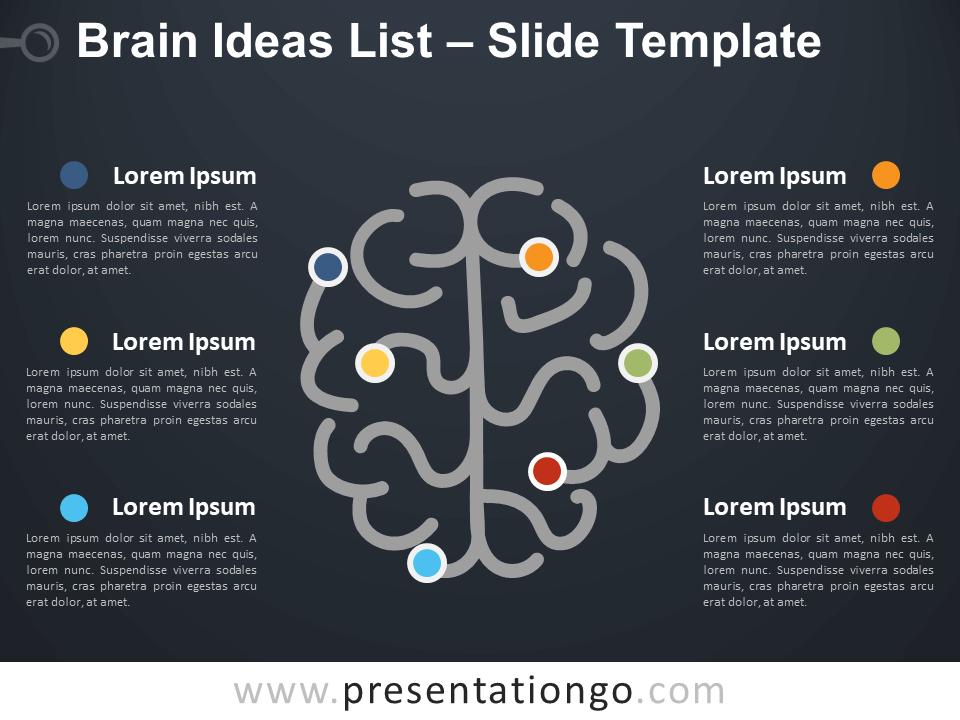 Free Brain Ideas List Diagram for PowerPoint