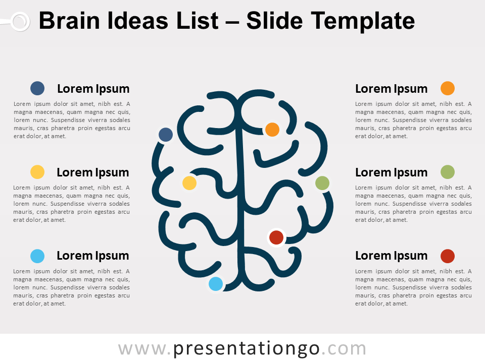 Free Brain Ideas List for PowerPoint