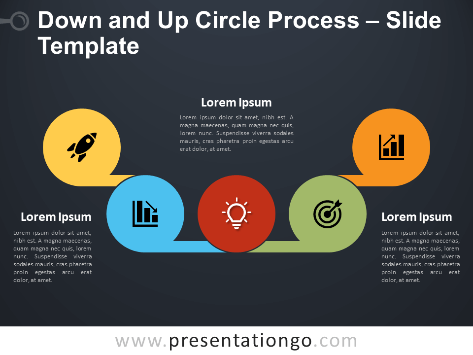 Free Down and Up Circle Process Diagram for PowerPoint