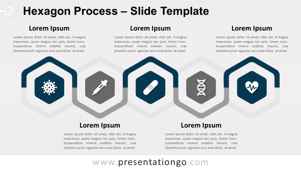 Free Hexagon Process Infographic for PowerPoint and Google Slides