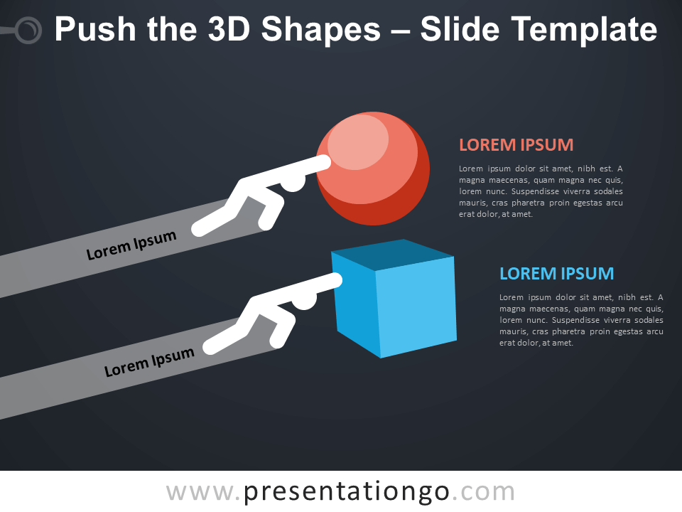 Free Push the 3D Shapes Infographic for PowerPoint
