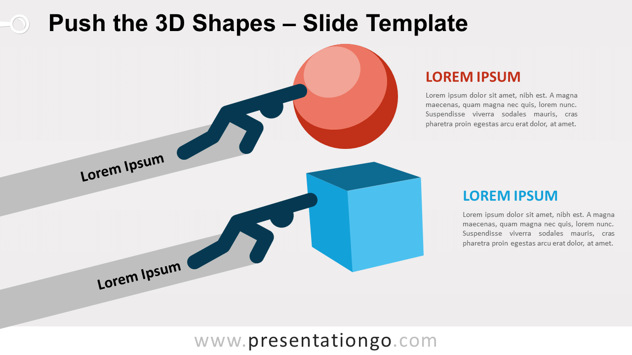 Free Push the 3D Shapes for PowerPoint and Google Slides