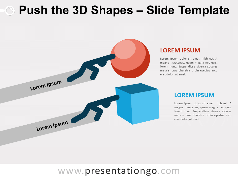 Free Push the 3D Shapes for PowerPoint