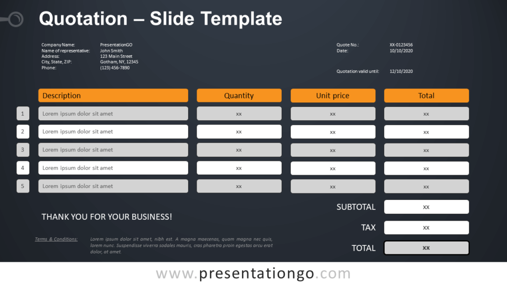 Free Quotation Table for PowerPoint and Google Slides