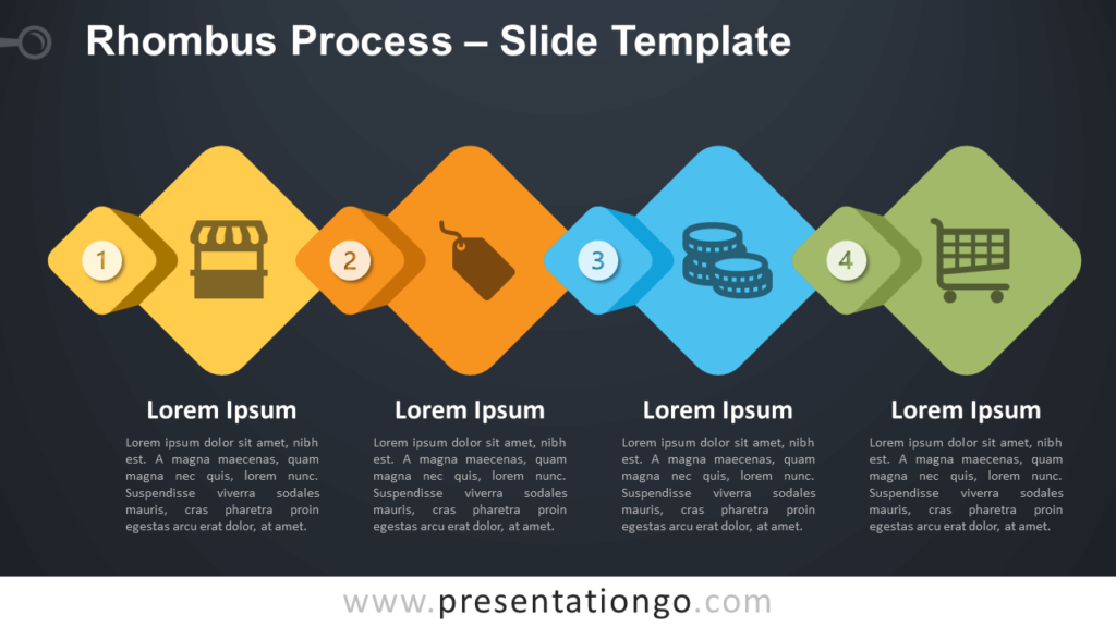 Free Rhombus Process Diagram for PowerPoint and Google Slides