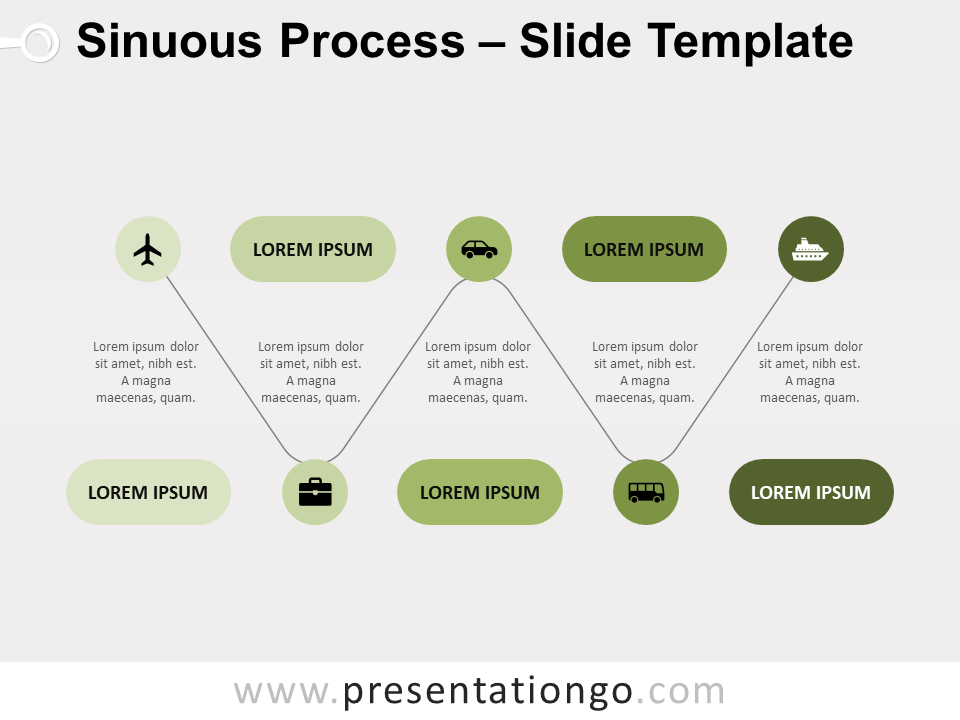 Free Sinuous Process for PowerPoint