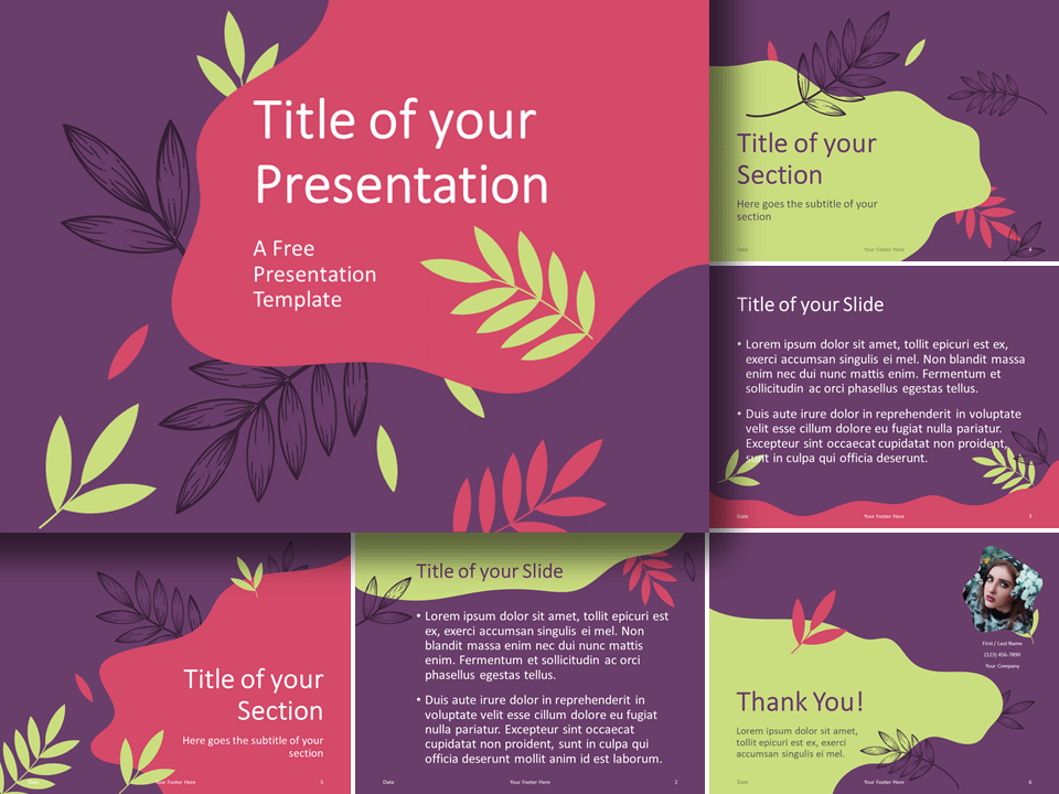 Free Sorbet Leaves Template for PowerPoint and Google Slides
