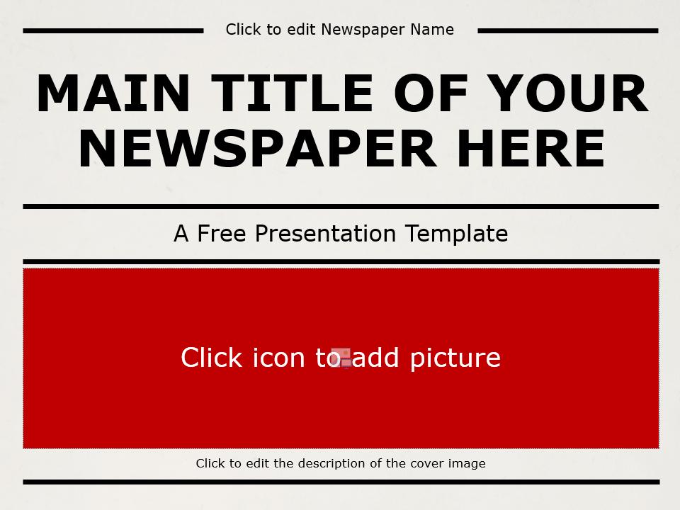 Free NEWSPAPER Template for Google Slides - Cover Slide