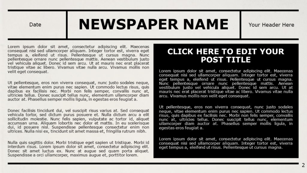Free NEWSPAPER Template for Google Slides – Title and Content Slide (Variant 1)