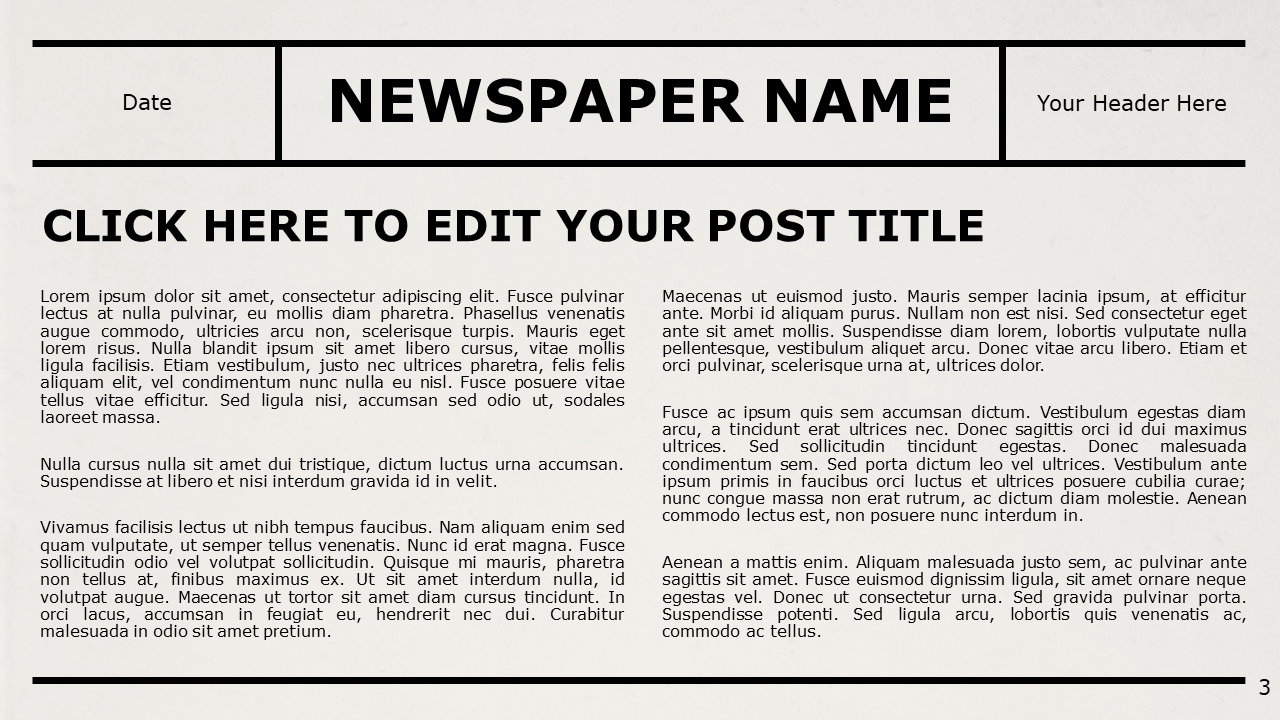 Free NEWSPAPER Template for Google Slides – Title and Content Slide (Variant 2)