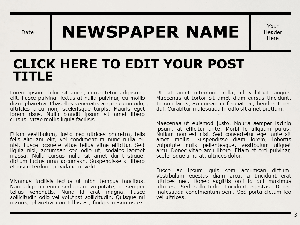 Free NEWSPAPER Template for PowerPoint – Title and Content (Variant 2)