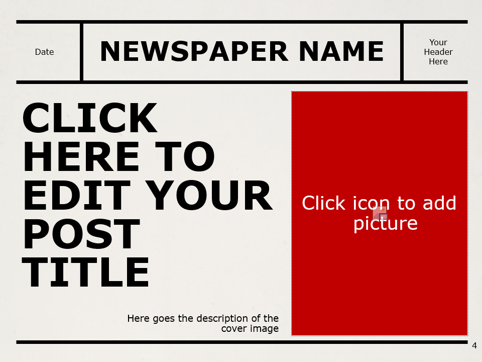 Free NEWSPAPER Template for PowerPoint – Section Slide (Variant 1)
