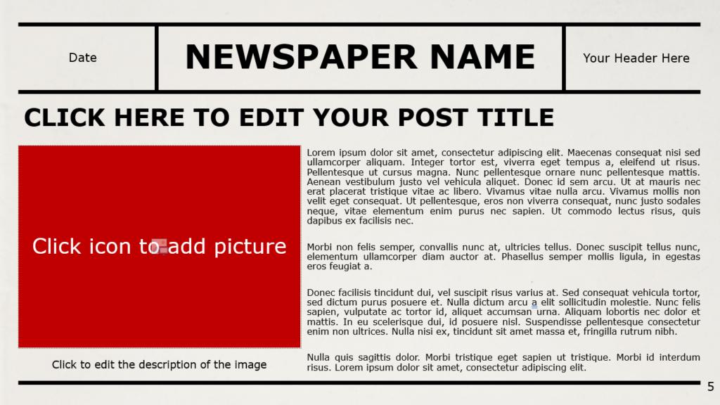 Free NEWSPAPER Template for Google Slides – Section Slide (Variant 2)