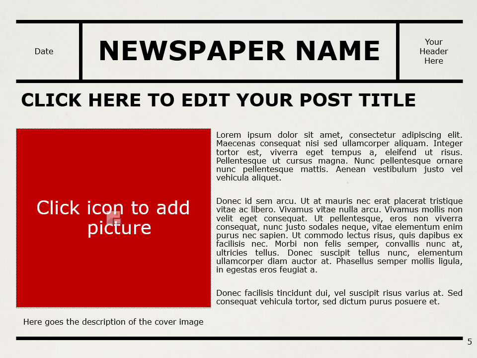 Free NEWSPAPER Template for PowerPoint – Section Slide (Variant 2)