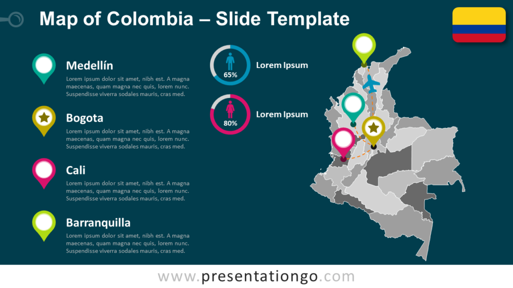 Free Colombia Map Template for PowerPoint and Google Slides