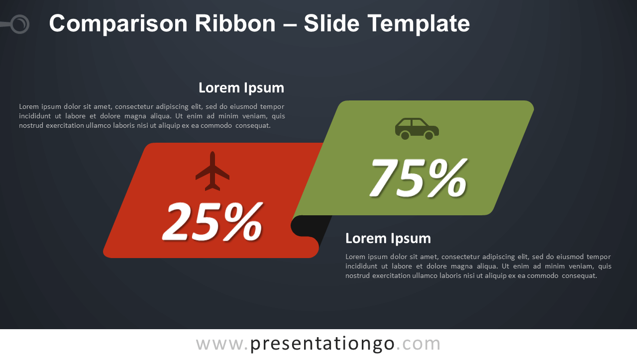 Free Comparison Ribbon Diagram for PowerPoint and Google Slides