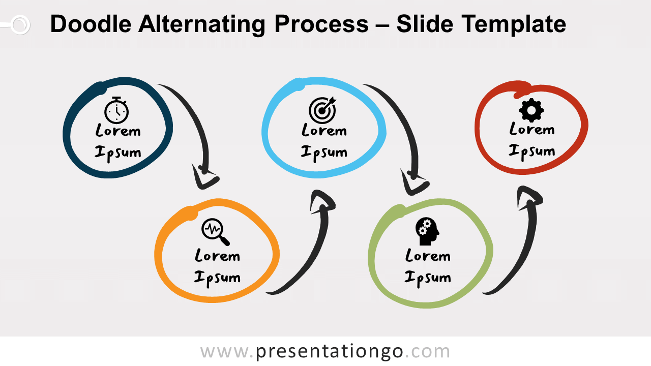 Free Doodle Alternating Process Diagram for PowerPoint and Google Slides