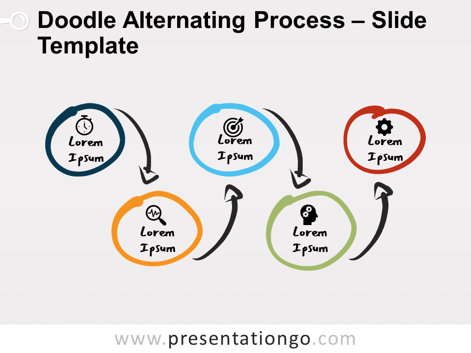 Free Doodle Alternating Process Diagram for PowerPoint