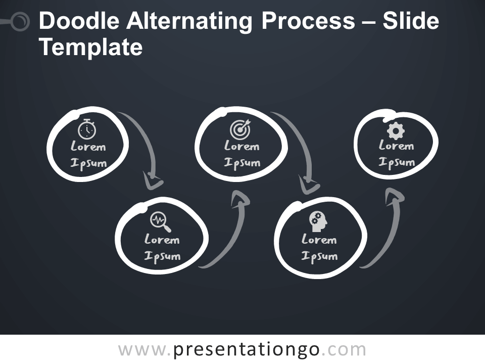 Free Doodle Alternating Process Infographic for PowerPoint