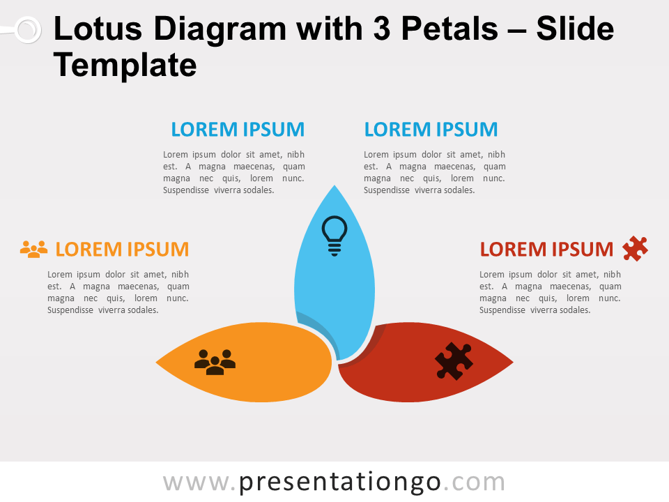 Free Lotus Diagram with 3 Petals for PowerPoint